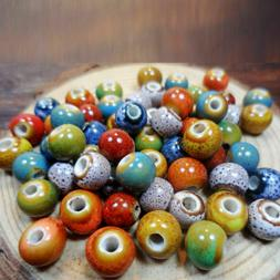 100Pcs Beads Ceramic Porcelain For Jewelry Making Colorful 6
