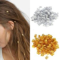100PCS Cuffs Clips Hair Ring Wrap Beads Tube for Box Braids