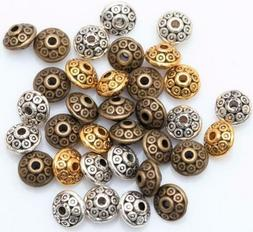 100Pcs Dia.6mm Tibetan Round Oval Spacer Metal Rondelle Bead