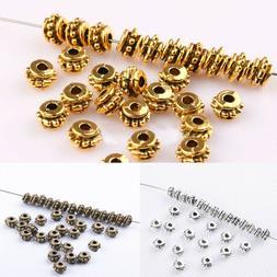 100Pcs Flower Spacer Beads Tibetan Silver DIY Beads For Jewe
