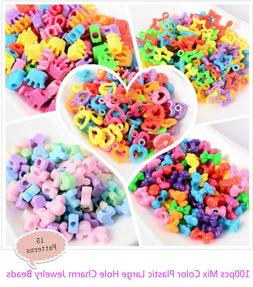 100pcs Mix Color Plastic Large Hole Charm Jewelry Pony Beads