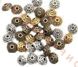 100pcs Rondelle Antique Metal Alloy Bicone Spacer Beads 6mm