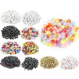 100Pcs Spacer Acrylic Beads DIY Cube Making Loose Random Alp