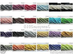 100pcs Top Quality Czech Glass Pearl Round Beads 3mm 4mm 6mm