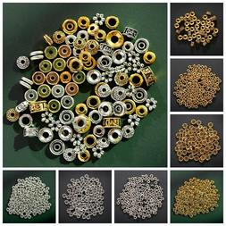 100Pcs Various Gold Silver Beads Jewelry Making Metal Charms