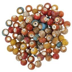 100pcs Vintage Round Ceramic Porcelain Loose Beads Spacer Be