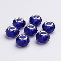 100x Handmade Glass European Beads Faceted Large Hole Charms