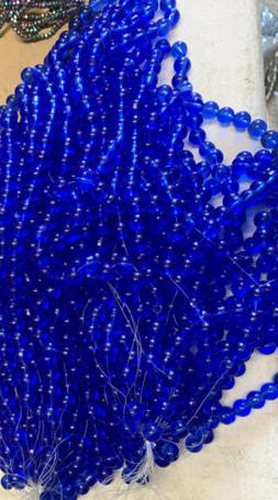 10mm Dark Blue Round Glass Beads 8 Strands 352 Beads