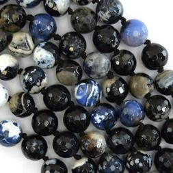 """10mm faceted dark blue agate round beads 14"""" strand"""