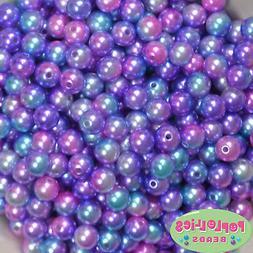 10mm Mermaid Multi color Pearl Finish Acrylic Bubblegum Bead