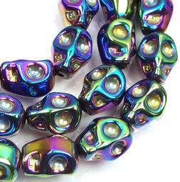 10mm Tiny Glass Metallic Coated Skull Beads Halloween  -  Pe