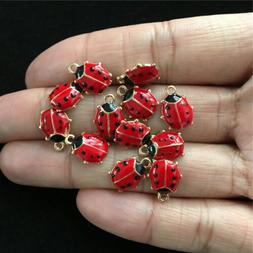 10pcs 11*9mm Gold Tone Red Enameled Ladybug Charms Tone Pend