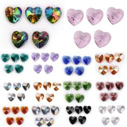 10pcs 14mm Charms Heart Faceted Crystal Glass Loose Spacer B