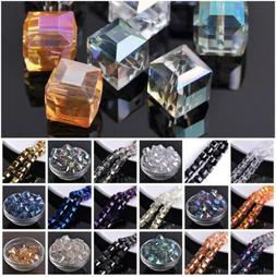 10pcs 14mm  Cube Faceted Crystal Glass Loose Crafts Beads lo