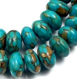 10x6mm Blue Mosaic Turquoise Rondelle Beads Beads