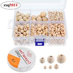 1105 Pcs Wooden Beads Unfinished Natural Round Set Crystal E