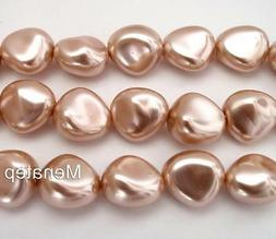 12  11 x 9 mm Czech Glass Nugget Beads: Pearl Coated - Vinta