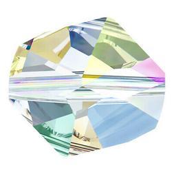 12 Swarovski #5523, 10mm Crystal AB coated Rocky Cut Cosmic