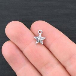 12 Beaded Star Charms Antique Silver Tone - SC1181
