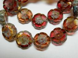 12 beads -  Amethyst Jonquil Yellow mix Picasso Czech Glass