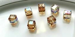 12  SWAROVSKI CRYSTAL - LIGHT COLORADO TOPAZ AB -  6mm BEADS