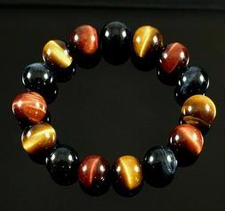 12 mm Natural Tiger Eye Bracelet Round Stone Bead Hawk Eye H