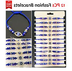 12 PCs Blue Crystal Beads with Rhinestone Eye Fashion Bracel