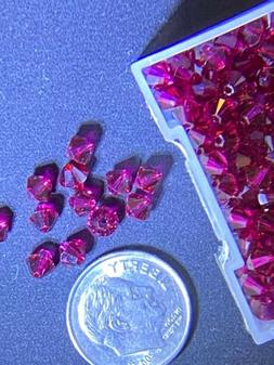 12 pcs Swarovski 4mm XILION RUBY Bicone Faceted Beads