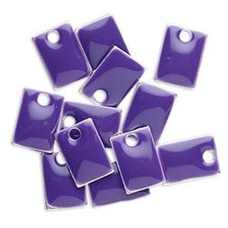 12 Silver Plated & Purple Enamel 8x5mm Rectangle Charms *