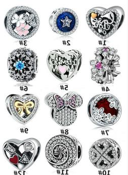 12 Style Silver CZ European Charm Beads Fit 925 Necklace Bra