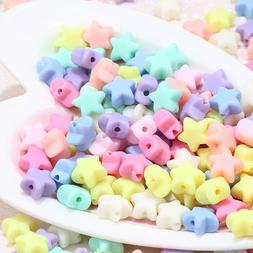 100+ Opaque Acrylic Mix Pastel Color Star Beads Charms Fun K