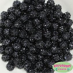 12mm Black Resin Rhinestone Bubblegum Beads Lot 40 pc.chunky