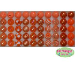 12mm Orange Acrylic Mixed Style Bubblegum Beads Lot 50 pc.ch