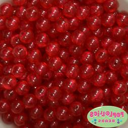 12mm Red Acrylic Frost Style Bubblegum Beads Lot 40 pc.chunk