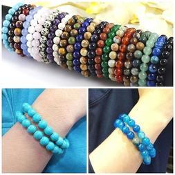 Handmade Natural Gemstone Round Bead Stretchy Bracelet Women