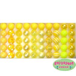 12mm Yellow Mixed Style Acrylic Bubblegum Beads Lot 50 pc.ch