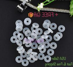 26pc White Rubber Stopper Rings Spacer Bead Charm Fit Europe