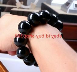 14MM Natural Black Agate Onyx Gemstone Beads Men Jewelry Bra