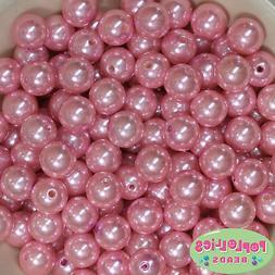 14mm Pink Acrylic Faux Pearl Bubblegum Beads Lot 20 pc.chunk