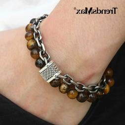 14mm Two Layers Mens Natural Tigers Eye Beaded Bracelet Stai
