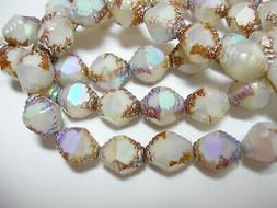 15 10x8mm Czech Glass Antique White AB Picasso Bicone Beads