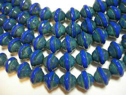 15 9mm Cobalt Blue Travertine Czech Glass Faceted Saturn Bea