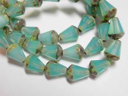 15 Czech Glass Aqua Picasso Faceted Teardrop Beads 8x5mm