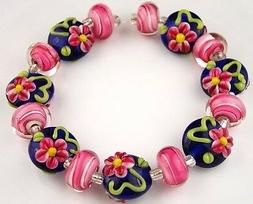 15 Lampwork Handmade Glass Beads Cobalt Blue Pink Flower Loo