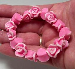15 Handmade Pink-Fimo-Polymer Clay Rose-Flower Beads-12mm-$3