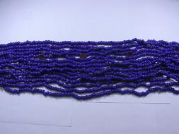 """15 Strands 22"""" Navy Blue Pony Glass Beads Wholesale Bulk Lot"""