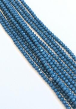 150 Fine Opaque Cerulean blue Crystals Rondelle Beads-Beadin
