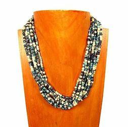 """16"""" Multi Strand Blue Multi Color Handmade Seed Bead Stateme"""