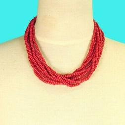 "16"" Multi Strand Red Color Handmade Bali Boho Seed Bead Stat"