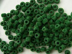160 Soft GREEN Fuzzy 9x6mm Pony Beads for school kids crafts